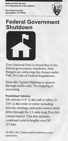 Notice handed to us at the Zion Entrance Gate