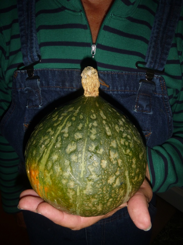Kathy holds squash