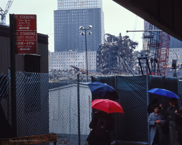 Still smoking wreckage of the World Trade Center