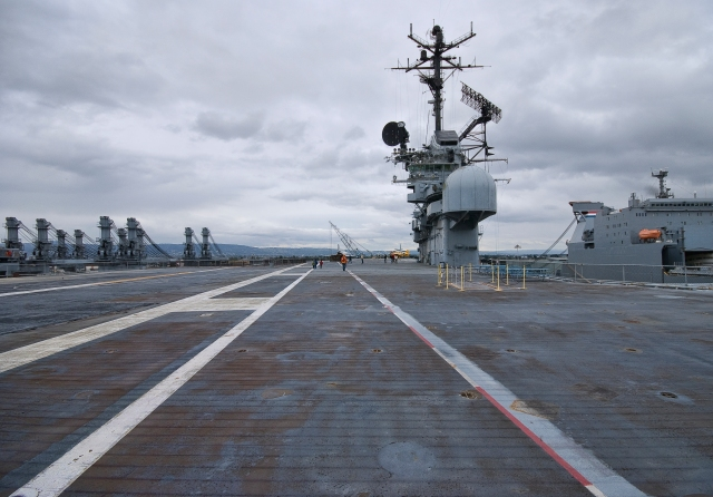 The flight deck, view to Oakland