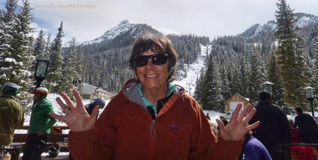 Kathy, with the Kachina lift, and Kachina Peak seen behind