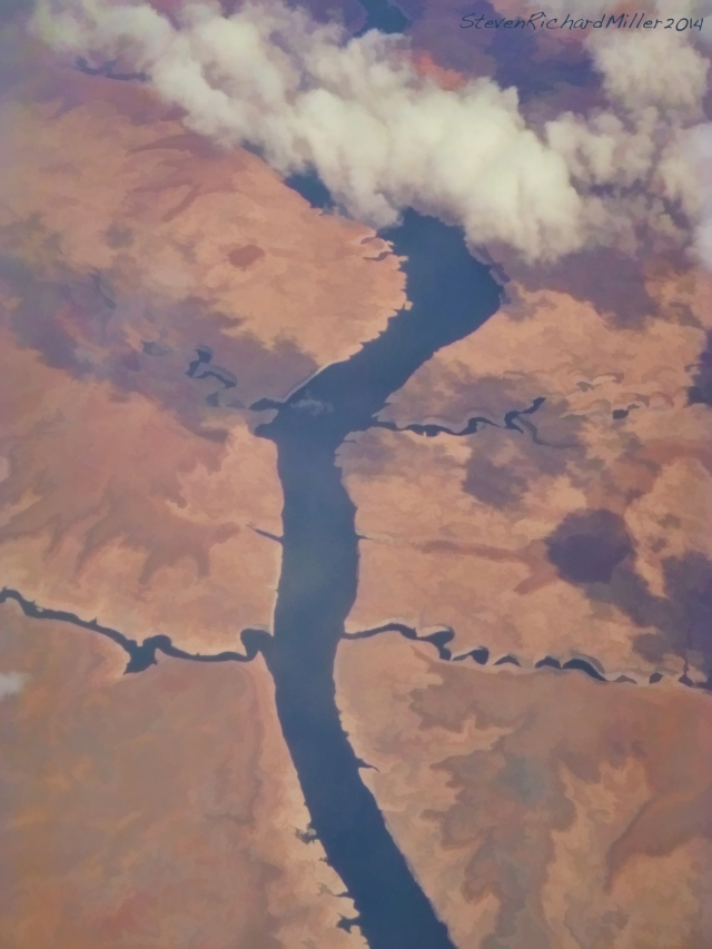 Lake Powell. Forgotten Canyon is the upper of the two sidecanyons seen on photo right
