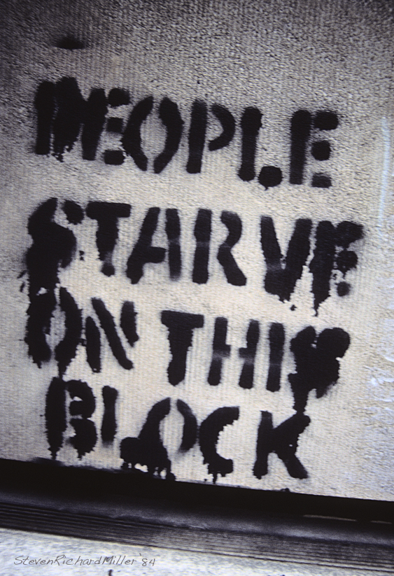 """People starve ..."" stencil"