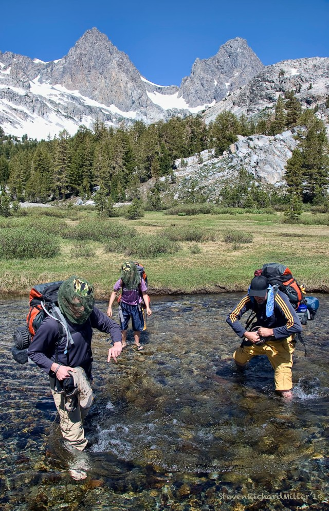 On the way out, crossing a creek that feeds Ediza Lake