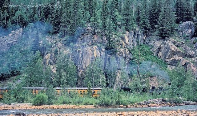 The train, heading upstream