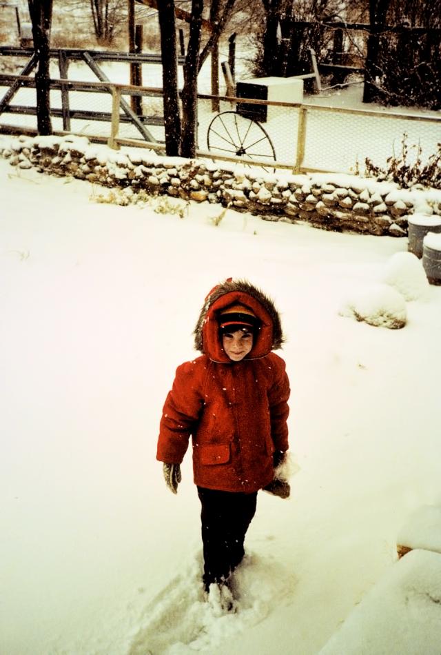 Laina in the snow, El Rancho, 1979