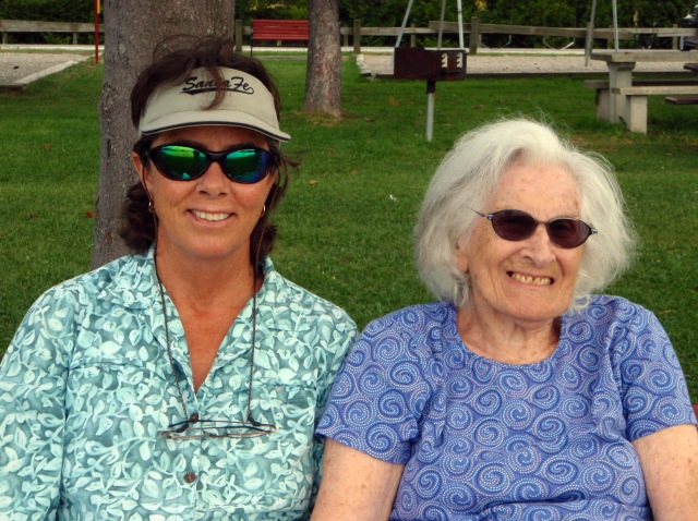 Mom and Kathy at the lake