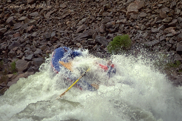 This is a series of photos from 1995 - Joel submarines through, in a 15' River Rider.