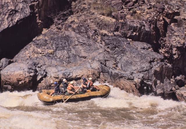On the left side of Crystal Rapid, in a large raft rowed by two, June 1971
