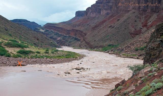 After the flood, an X marks Muffin Rock. Photo by Britt Runyon, Sept. 2012