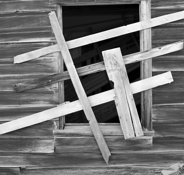 Boarded-up window