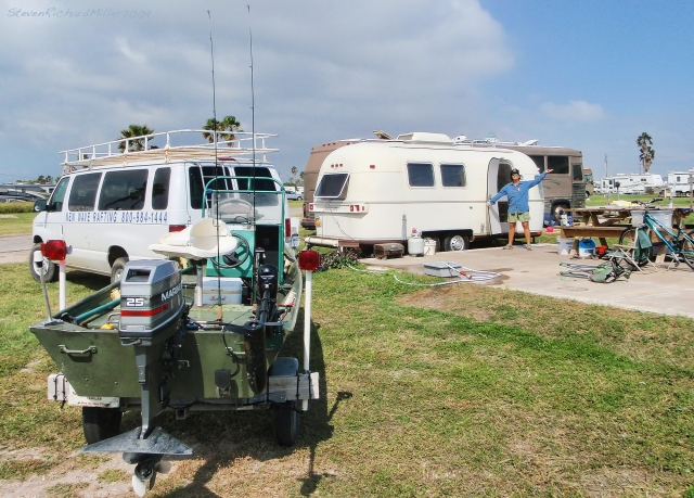 At the Isla Blanca County Park campground, with our Argosy trailer, New Wave van and fishing boat
