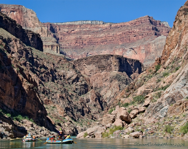 Approach to Sapphire Rapid, Mile 101.8, with a great rim to river view, from the Kaibab to the Supai to the Redwall, to the tapeats and the Inner Gorge of schist and granite