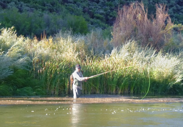 Bill stands knee-deep in the weeds, while fishing in weed-free water