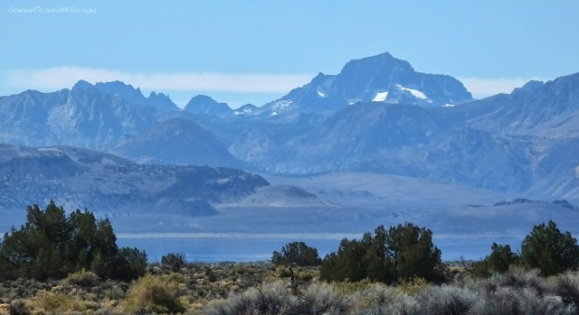 Mt. Banner is superimposed on Mt. Ritter, with Mono Lake in the foreground, view to the southsuperimposed