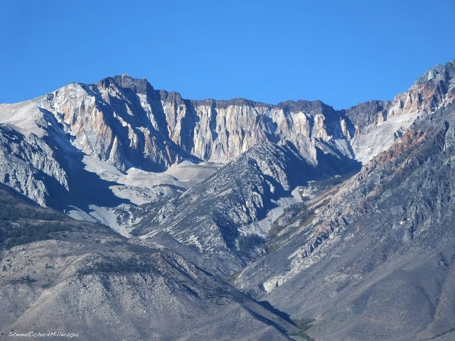 A black-capped ridge that runs south from Split Mountain, with a piece of Split Mountain seenon extreme right
