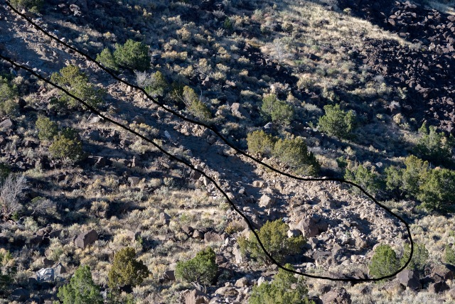 Mud, rock and boulder avalanche creates new gully on the slopes of the Rio Grande Gorge