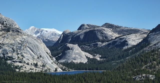 Olmsted Point, view of Tenaya Lake and Mt. Conness. On the left is the climbing area known as the Stately Pleasure Dome and the small dome on the right, Pywiack Dome, is another climbing area