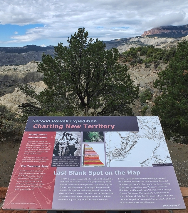 Powell Point informational sign, along Hwy 12 between Escalante and Cannonville
