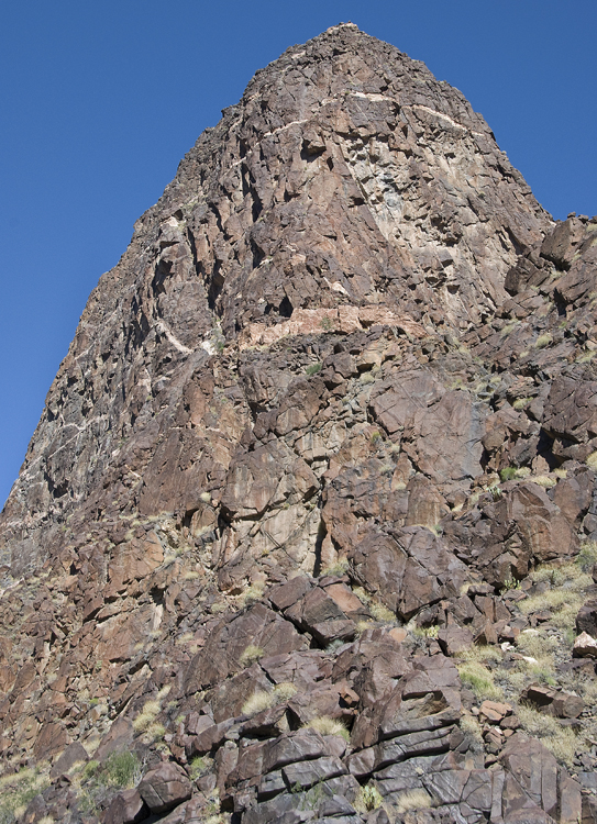 The Ruby Buttress, Mile 104.5, stands directly over Ruby Rapid