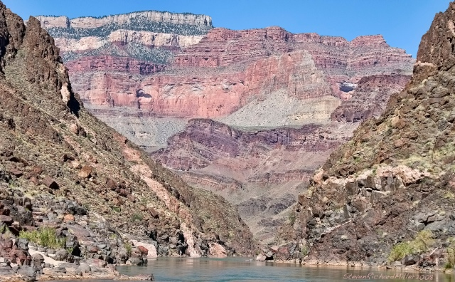 View downstream to Shinumo Amphitheater, with tilted layers of the Shinumo Quartzite seen in the center of the photo. The forested North Rim is seen above.