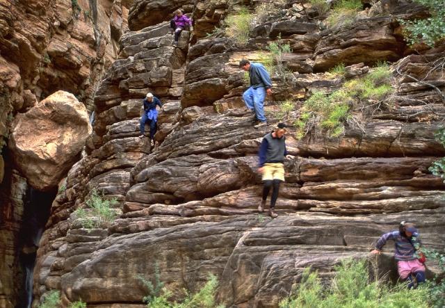 Downclimbing alongside the second falls