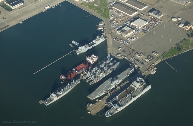 The USS Hornet aircraft carrier and other ships, at the former Alameda Naval Air Station, at the NW end of Alameda Island
