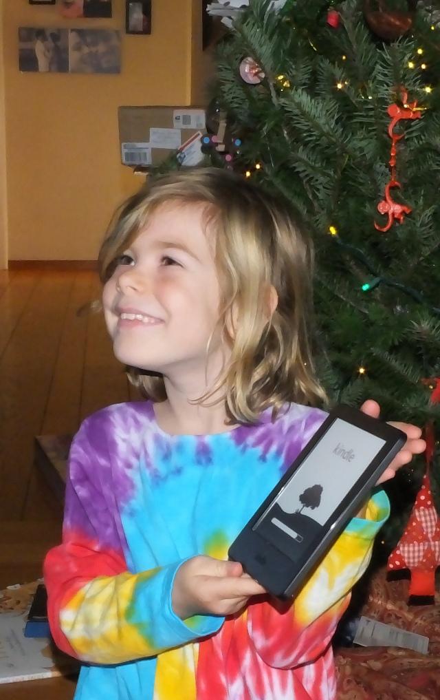 Kara and her Kindle