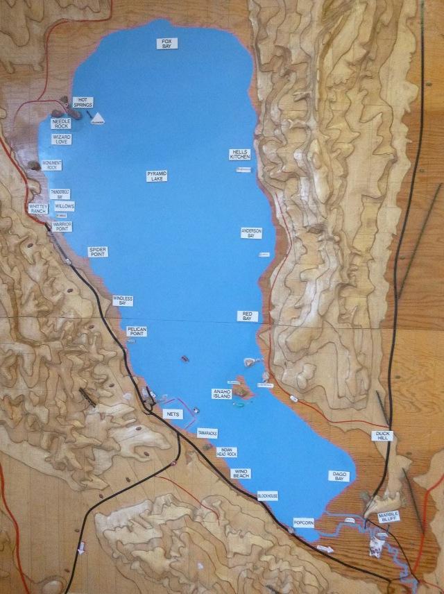 Pyramid Lake map, at the Ranger Station