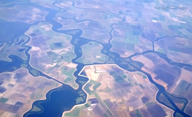 San Joaquin/Sacramento rivers delta, processed to resemble watercolor painting