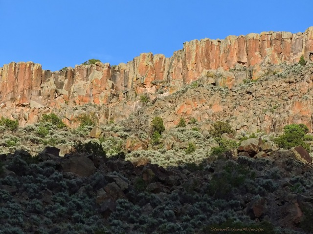 Evening light on the basalt cliffs of Orilla Verde, Rio Grande del Norte National Monument