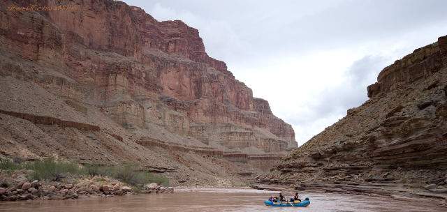 Fossil Rapid, at Mile 124.9. This rapid next bends to the left and then back to the right, providing a long series of fun waves