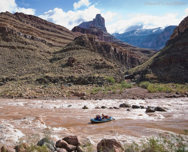 Ethan Miller, on the tongue of Deubendorff Rapid, with view up Galloway Canyon
