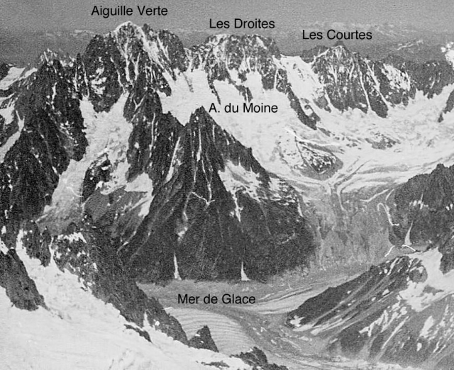 The Aiguille du Moine is reached from the Couvercle hut, in the taller basin