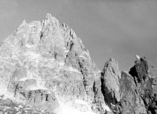 The east face of the Dent Du Requin. The Mayer-Dibona route follows the right-hand ridge