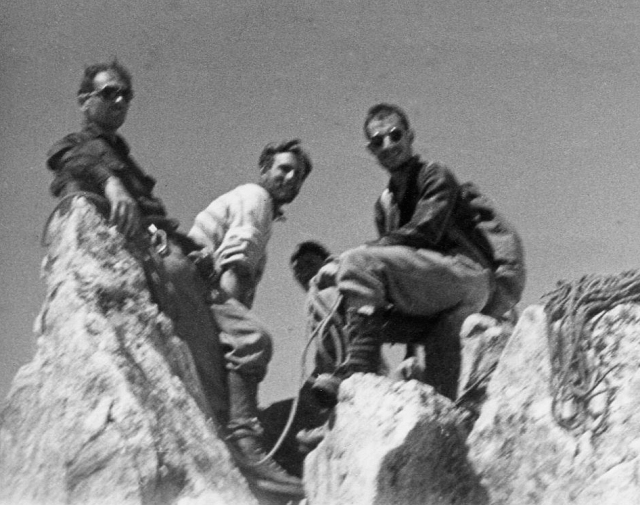 Summit of Aig. de la Dibona, with Andres (left), me and Daniel (right)