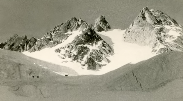 On the Glacier des Nantillons, looking up at the Pointe Central and the Spenser Couloir