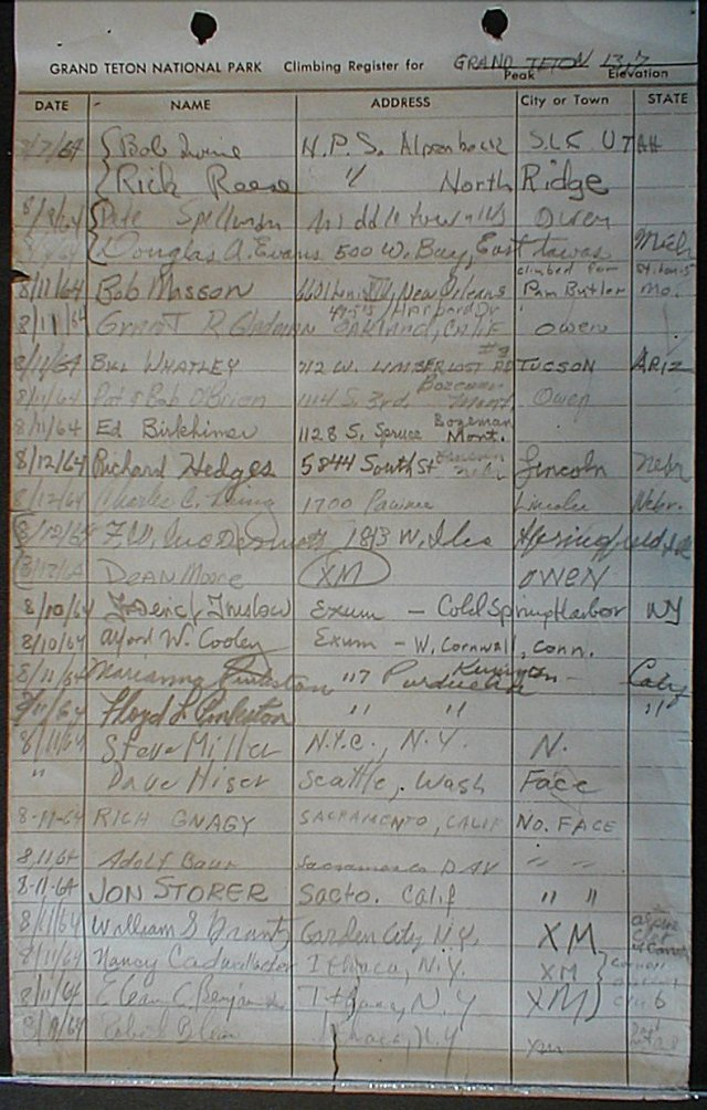 The entry of our North Face climb in the Grand Teton summit register