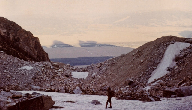 On the Teton Glacier, at the foot of the North Face of the Grand Teton