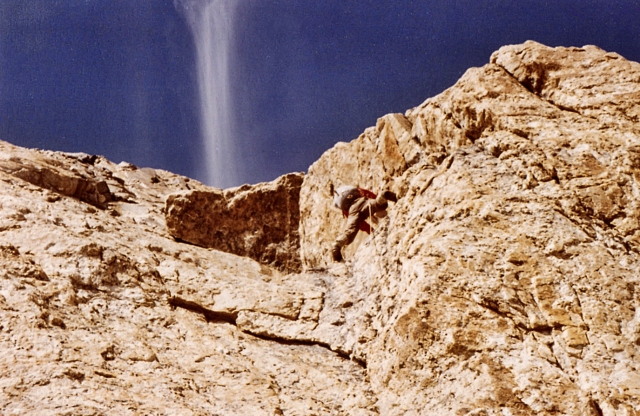David leads on the North Face route, 1964