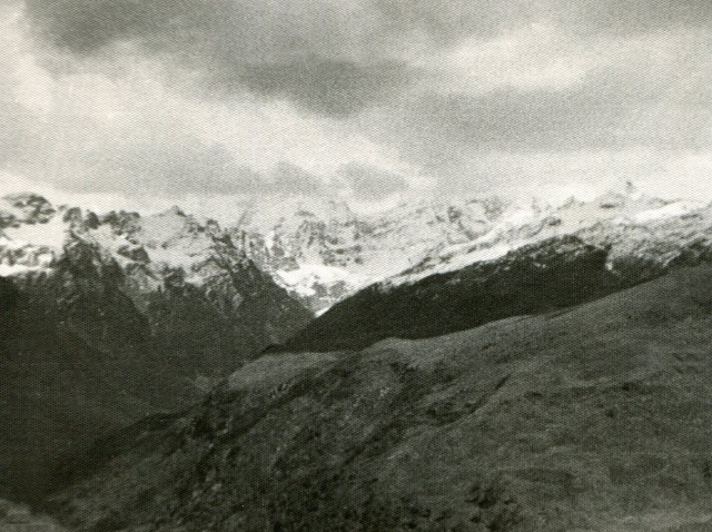 Indrasan (20,410') and Deo Thibba (19,688), Sept. '63. These peaks are fairly close to and directly east of Manali.