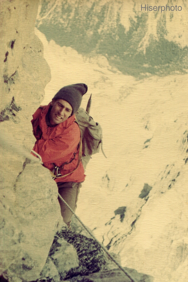 North Face of the Grand Teton. Here, I'm following the famous Pendulum Pitch, 1964