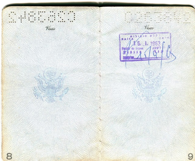 Passport, entry to Israel, Jan. 15, 1963