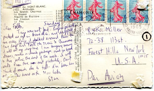 POSTCARDAig. Charmoz to Fou '65BACK