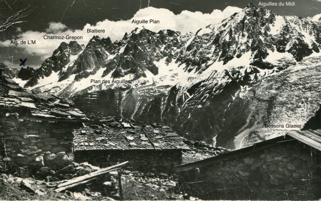 The Chamonix Aiguilles (annotated postcard)