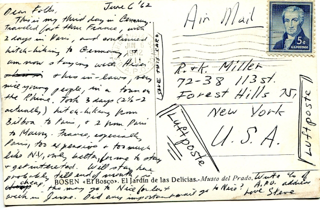 Backside of above postcard, mailed 6-6-62, from Germany