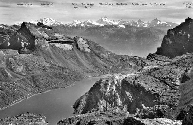 Daubensee, and the peaks of the Pennine Alps to the south (postcard)