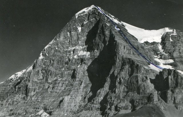 The Eiger, with the North Face on the left. This postcard shows the route i climbed, later in the month