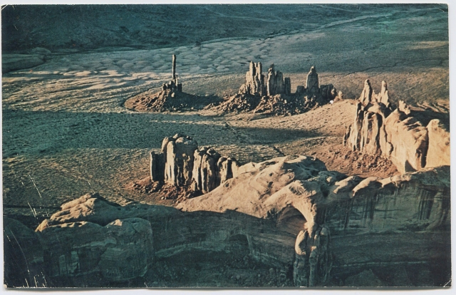 Postcard, MonumentValley, 1966. Mailed from Mexican Hat, Utah