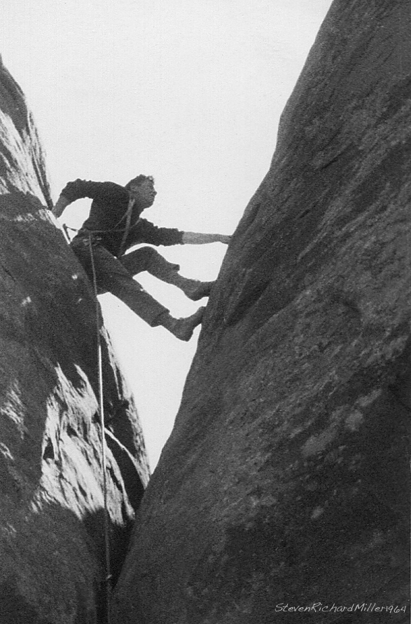 Skyline Arch. Harvey Carter leads first free ascent, April, 13, 1964